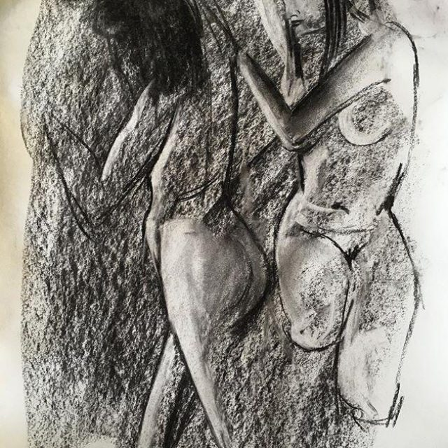 Two Figures in Charcoal
